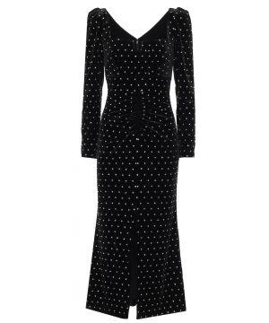 Embellished velvet midi dress