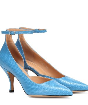 Embossed leather d'Orsay pumps