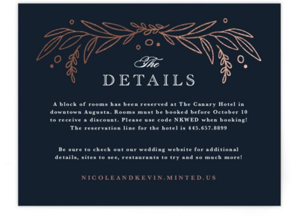 Entwined Foil-Pressed Direction Cards