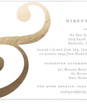 Esperluette Foil-Pressed Direction Cards