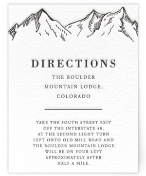 Etched Mountain Letterpress Directions Cards