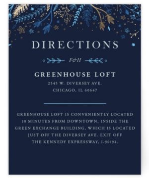Fairytale Foil-Pressed Direction Cards