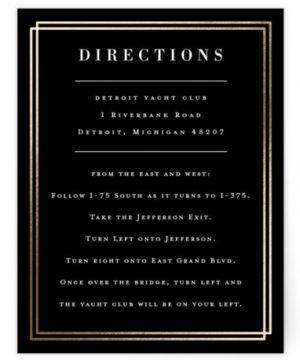 Felicity Foil-Pressed Direction Cards