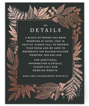 Fern Frame Foil-Pressed Direction Cards