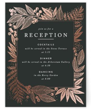 Fern Frame Foil-Pressed Reception Cards