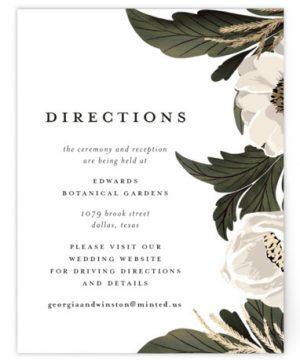 Floral Sweep Foil-Pressed Direction Cards