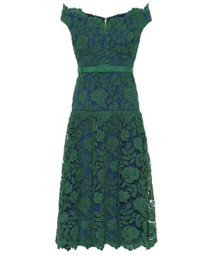 Floral-lace midi dress