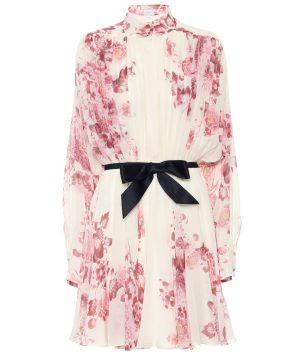Floral silk georgette minidress