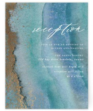 Gilded Sea Foil-Pressed Reception Cards