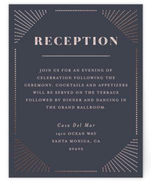 Glam Deco Foil-Pressed Reception Cards