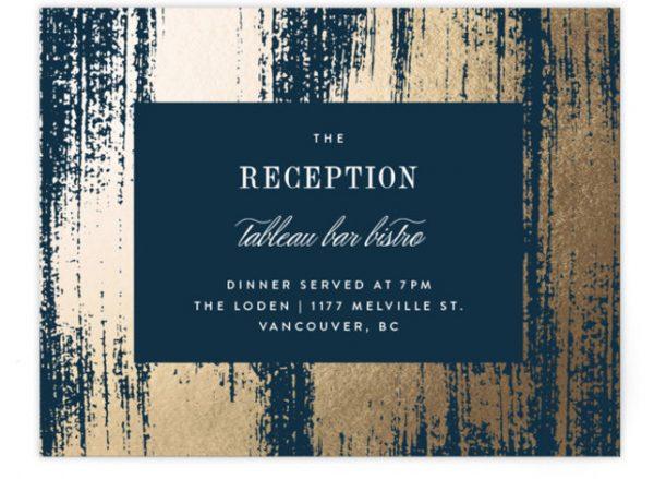 Gold Leaf Foil-Pressed Reception Cards