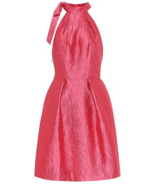 Halterneck brocade dress