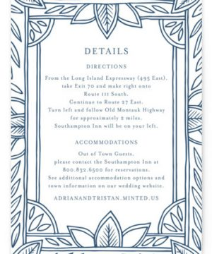 Handmade Ornate Frame Letterpress Directions Cards