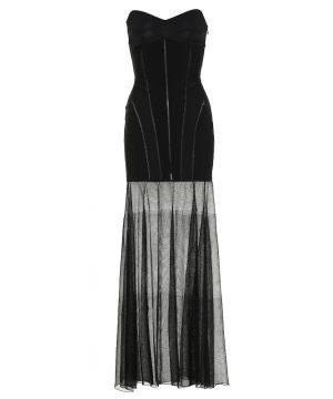 Jersey and mesh midi dress