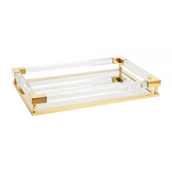 Jonathan Adler - Jacques Tray - Small - Clear Acrylic/Brass