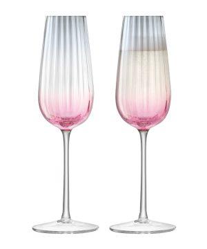 LSA International - Dusk Champagne Flute - Set of 2 - Pink/Grey