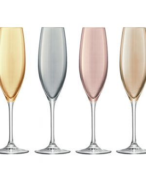 LSA International - Polka Assorted Champagne Flutes - Set of 4 - Metallic