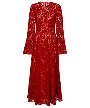 Lace velvet midi dress