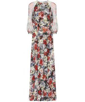 Lamara floral silk-voile gown