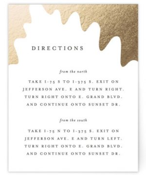 Leaf Silhouette Foil-Pressed Direction Cards