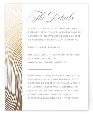 Lined Foil-Pressed Direction Cards