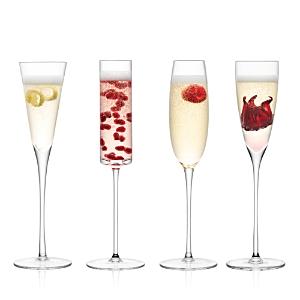 Lsa Lulu Assorted Champagne Flutes, Set of 4