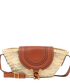 Marcie leather-trimmed straw shoulder bag