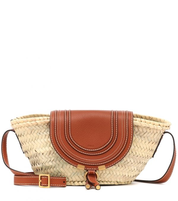 Marcie leather-trimmed straw shoulder bag