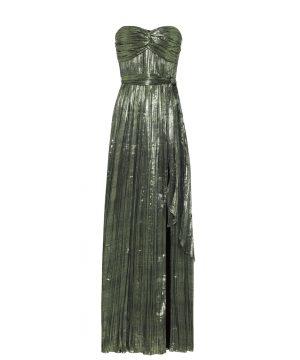 Metallic plissé gown