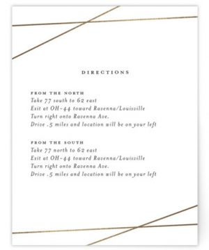 Minimal Shine Foil-Pressed Direction Cards