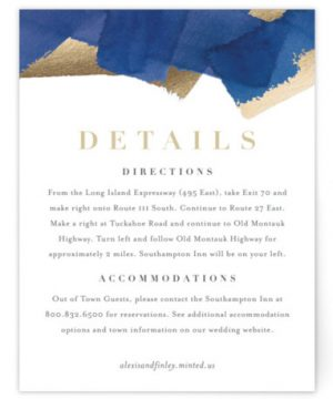 Modern Abstract Foil-Pressed Direction Cards