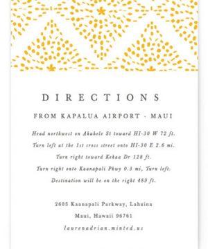 Motif Pattern Letterpress Directions Cards