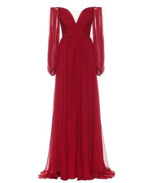 Off-shoulder silk-chiffon gown