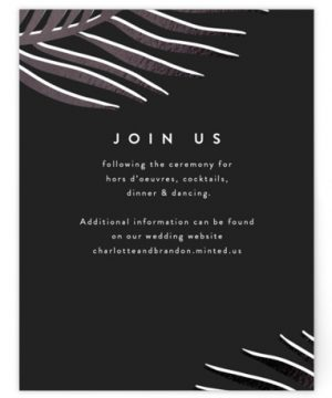 Palm Vibes Foil-Pressed Reception Cards