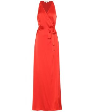 Paola satin maxi wrap dress