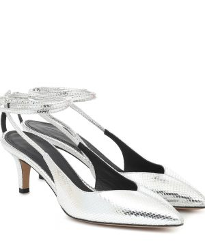Pasar snake-effect leather pumps
