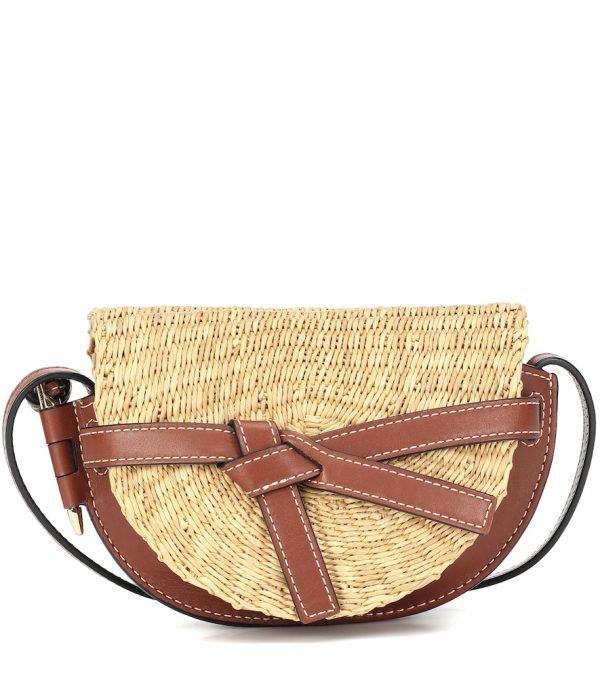Paula's Ibiza Gate Mini leather and raffia crossbody bag