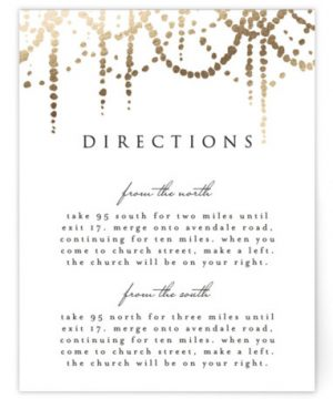 Pearl Garland Foil-Pressed Direction Cards