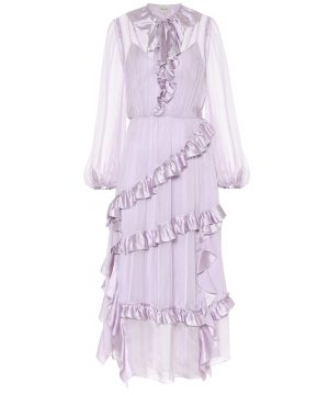 Penny ruffled silk dress