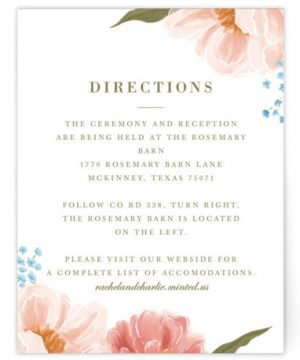 Peony Gardens Directions Cards
