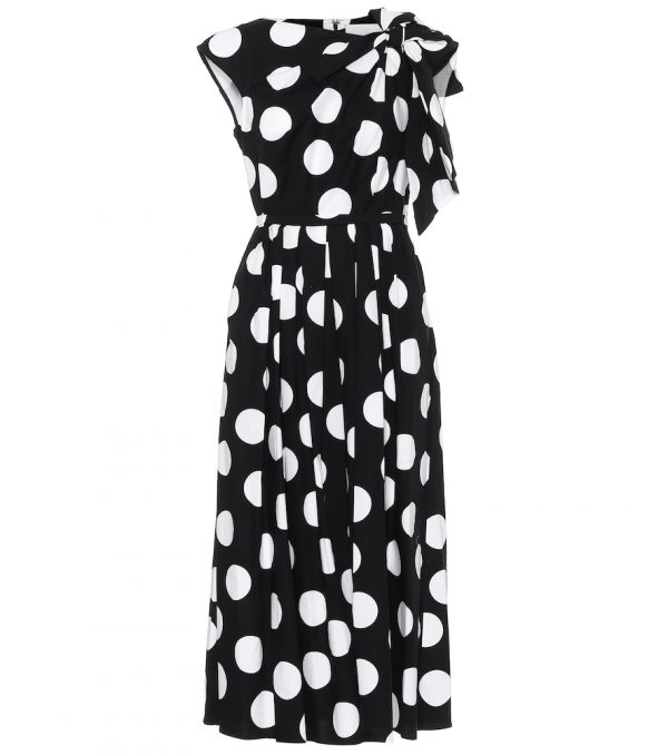 Polka-dot stretch-cotton dress
