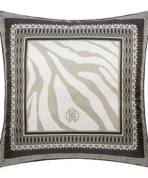 Roberto Cavalli - Frame Zebrage Silk Cushion - Sand - 60x60cm