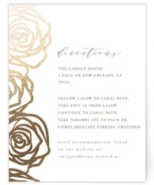 Rose Box Foil-Pressed Direction Cards