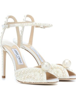 Sacora 100 faux pearl-embellished sandals