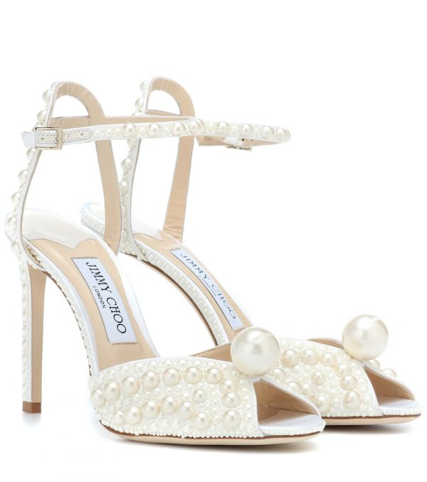 Sacora 100 faux pearl-embellished sandals