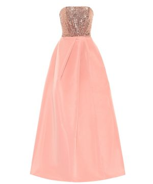 Sequined silk faille gown