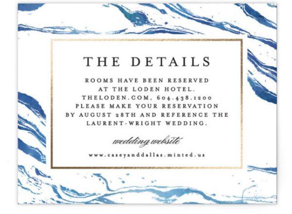 Shimmering Waves Foil-Pressed Direction Cards