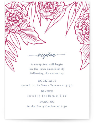 Sketched Peonies Letterpress Reception Cards