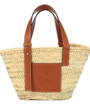 Small leather-trimmed basket tote