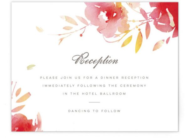 Stately Florals Reception Cards